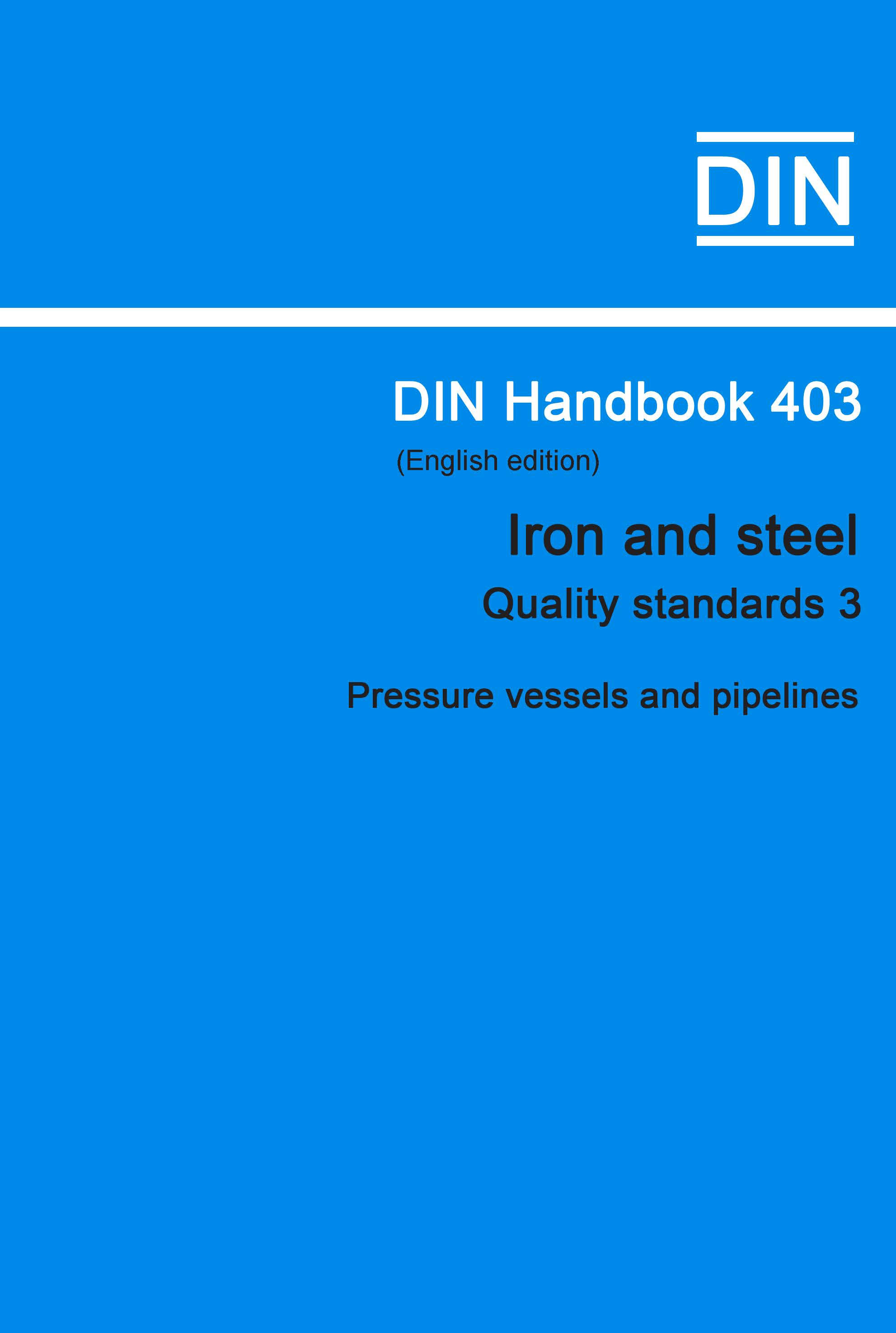 (DIN Handbook  403 Iron And Steel (Quality Standar...